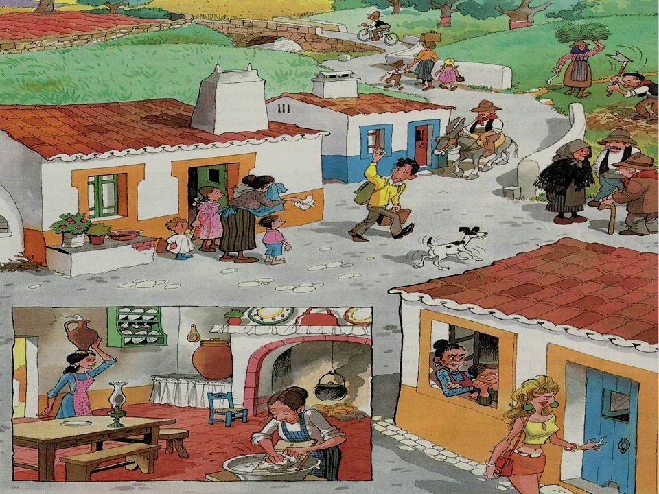 A imagem retrata o quotidiano de uma aldeia do interior de Portugal na década de 70 do século XX: falta de equipamentos sociais (água canalizada, saneamento básico e luz eléctrica), predomínio da agricultura tradicional, êxodo para as cidades e para o estrangeiro da população jovem/adulta, abandono dos campos, envelhecimento da população, fortes laços de vizinhança, etc..