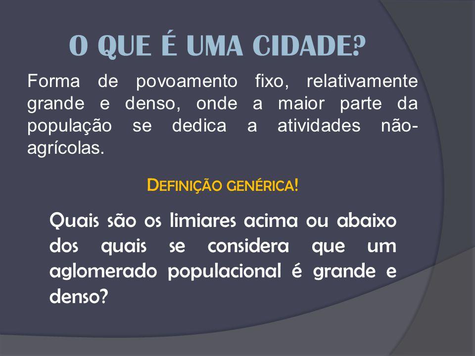 O QUE É UMA CIDADE Forma de povoamento fixo, relativamente grande e denso, onde a maior parte da população se dedica a atividades não-agrícolas.