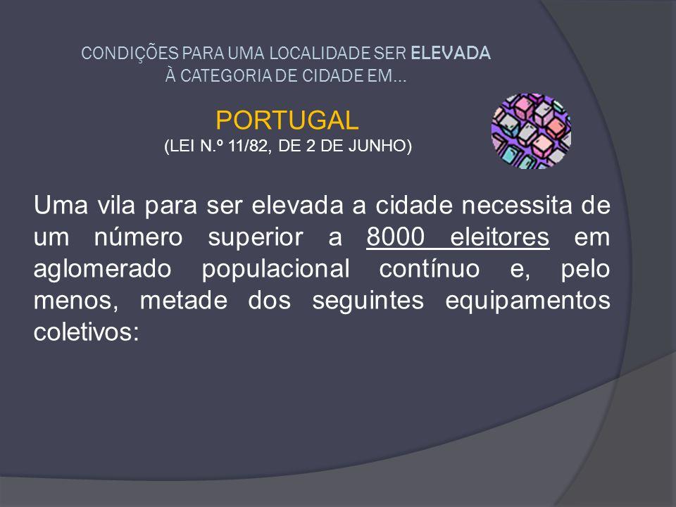 CONDIÇÕES PARA UMA LOCALIDADE SER ELEVADA À CATEGORIA DE CIDADE EM…