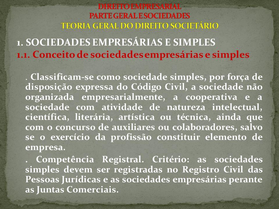1. SOCIEDADES EMPRESÁRIAS E SIMPLES