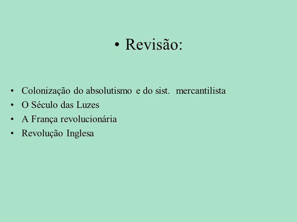 Revisão: Colonização do absolutismo e do sist. mercantilista