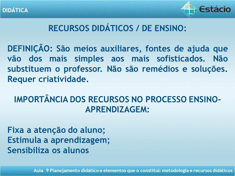 RECURSOS DIDÁTICOS / DE ENSINO: