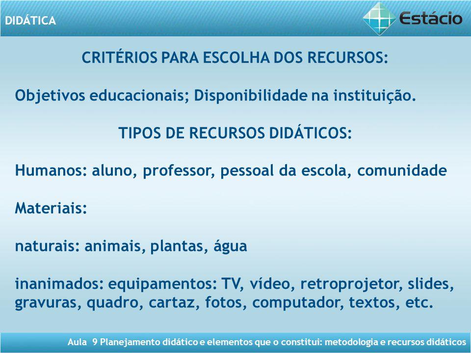 CRITÉRIOS PARA ESCOLHA DOS RECURSOS: TIPOS DE RECURSOS DIDÁTICOS: