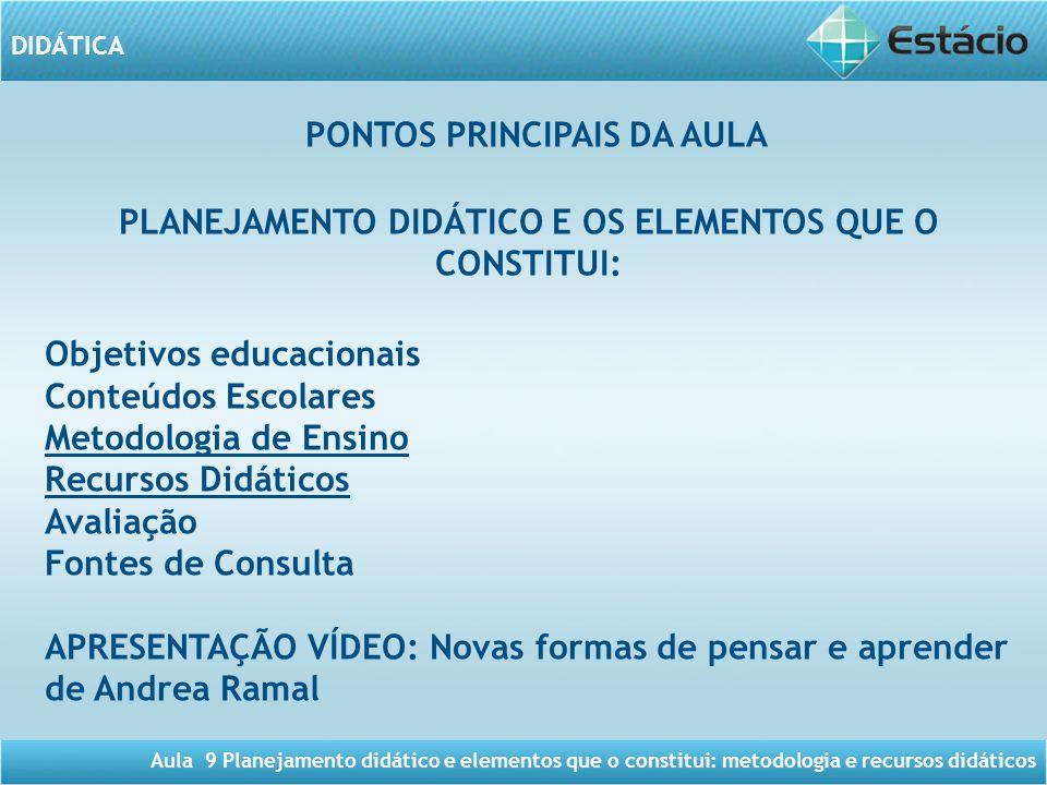 PONTOS PRINCIPAIS DA AULA