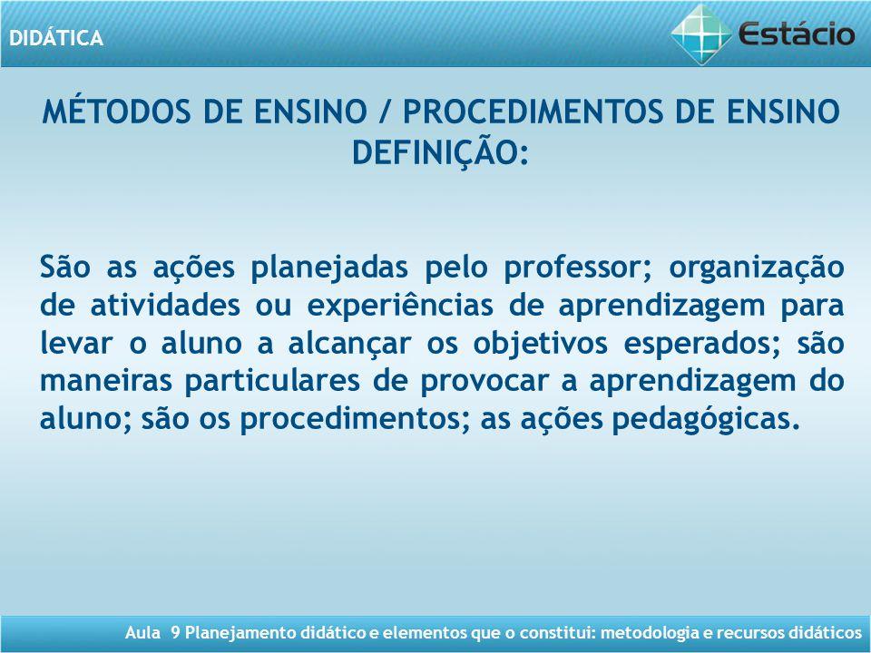 MÉTODOS DE ENSINO / PROCEDIMENTOS DE ENSINO