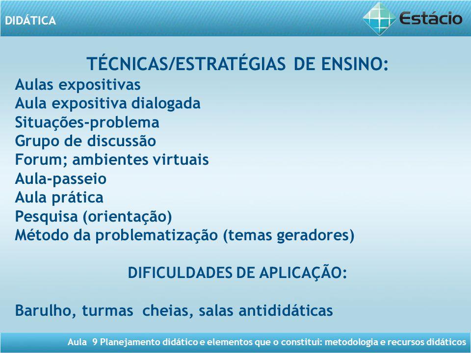 TÉCNICAS/ESTRATÉGIAS DE ENSINO: DIFICULDADES DE APLICAÇÃO: