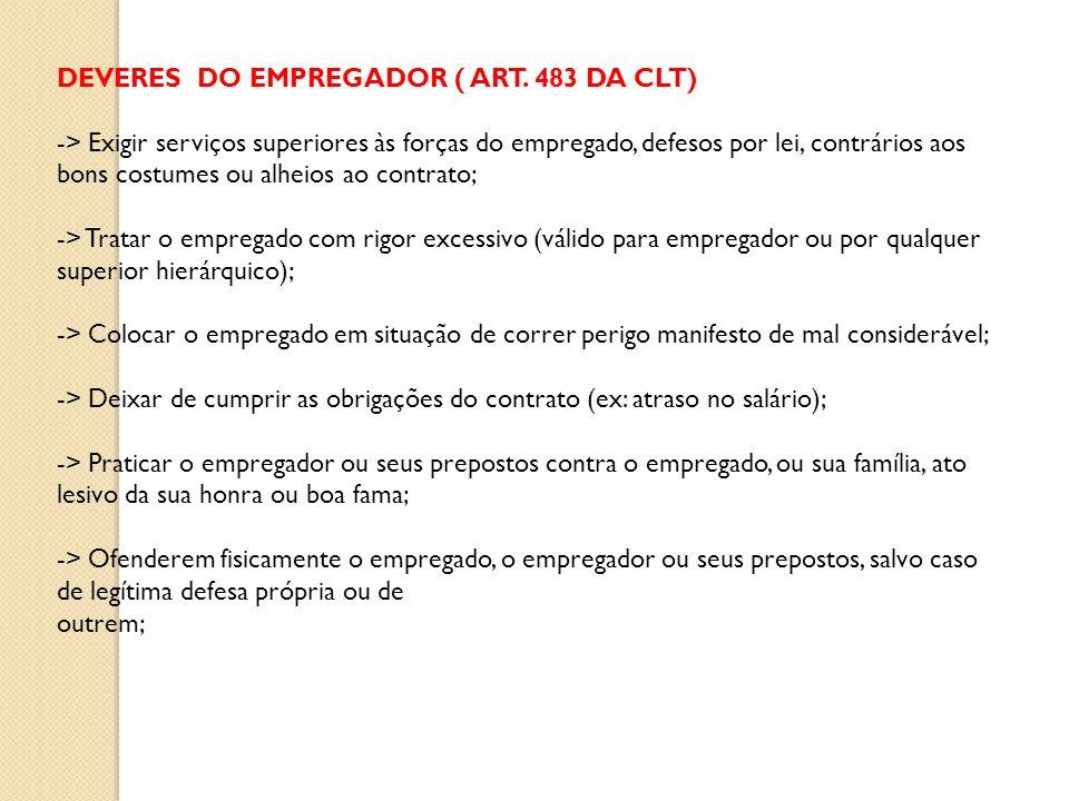DEVERES DO EMPREGADOR ( ART. 483 DA CLT)