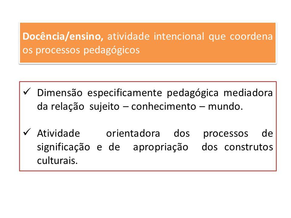 Docência/ensino, atividade intencional que coordena os processos pedagógicos