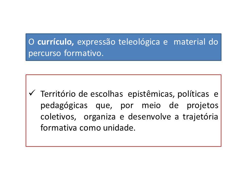 O currículo, expressão teleológica e material do percurso formativo.