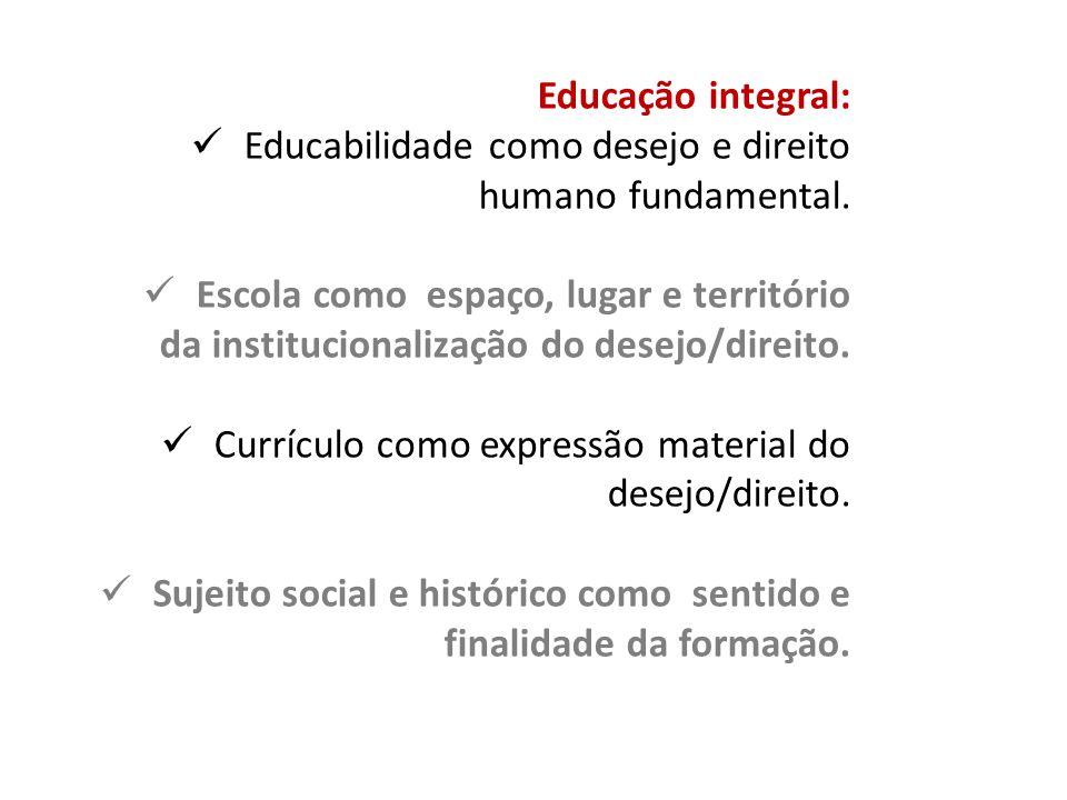 Educação integral: Educabilidade como desejo e direito humano fundamental.