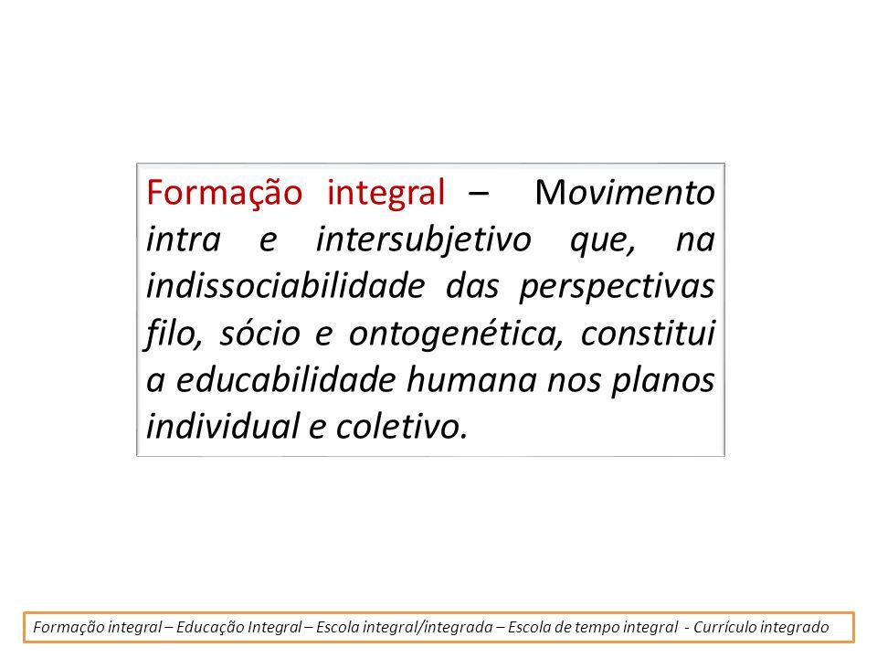 Formação integral – Movimento intra e intersubjetivo que, na indissociabilidade das perspectivas filo, sócio e ontogenética, constitui a educabilidade humana nos planos individual e coletivo.
