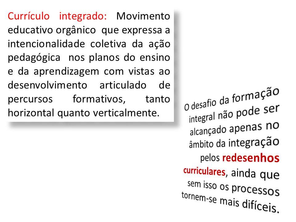 Currículo integrado: Movimento educativo orgânico que expressa a intencionalidade coletiva da ação pedagógica nos planos do ensino e da aprendizagem com vistas ao desenvolvimento articulado de percursos formativos, tanto horizontal quanto verticalmente.