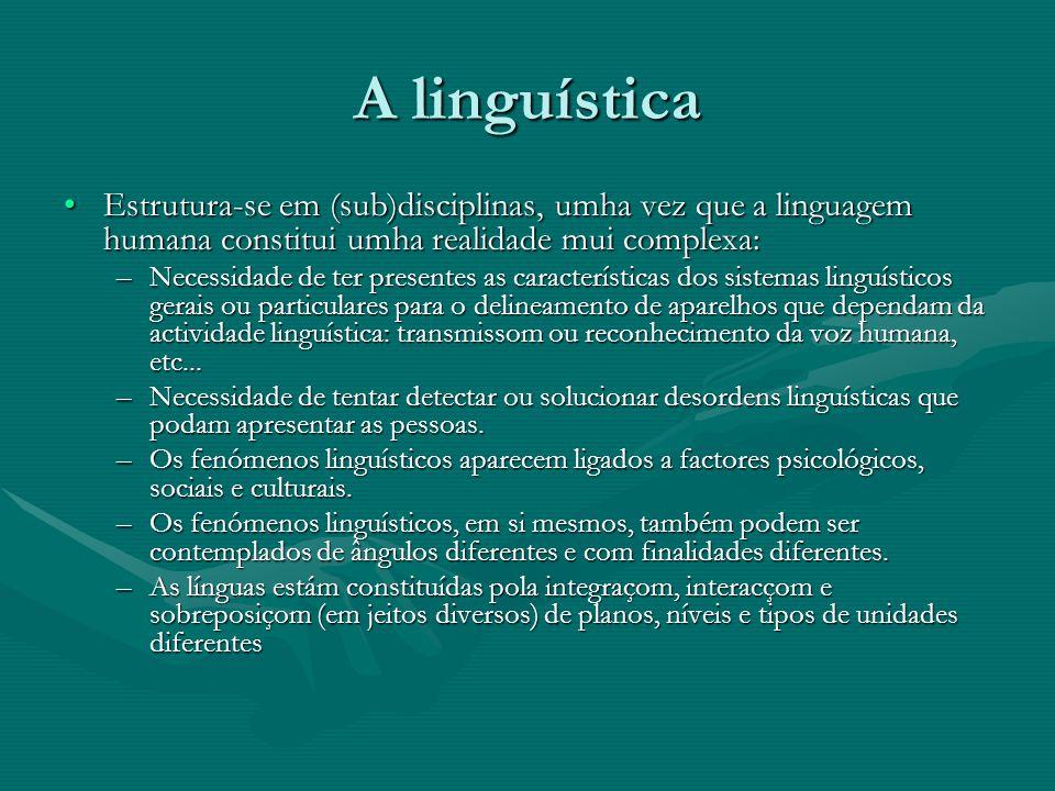 A linguística Estrutura-se em (sub)disciplinas, umha vez que a linguagem humana constitui umha realidade mui complexa: