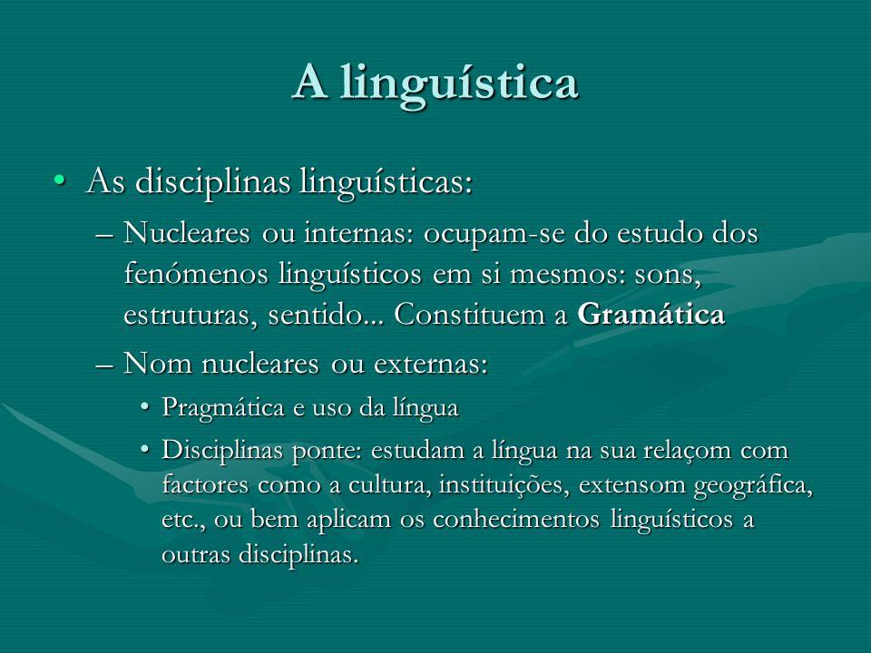 A linguística As disciplinas linguísticas: