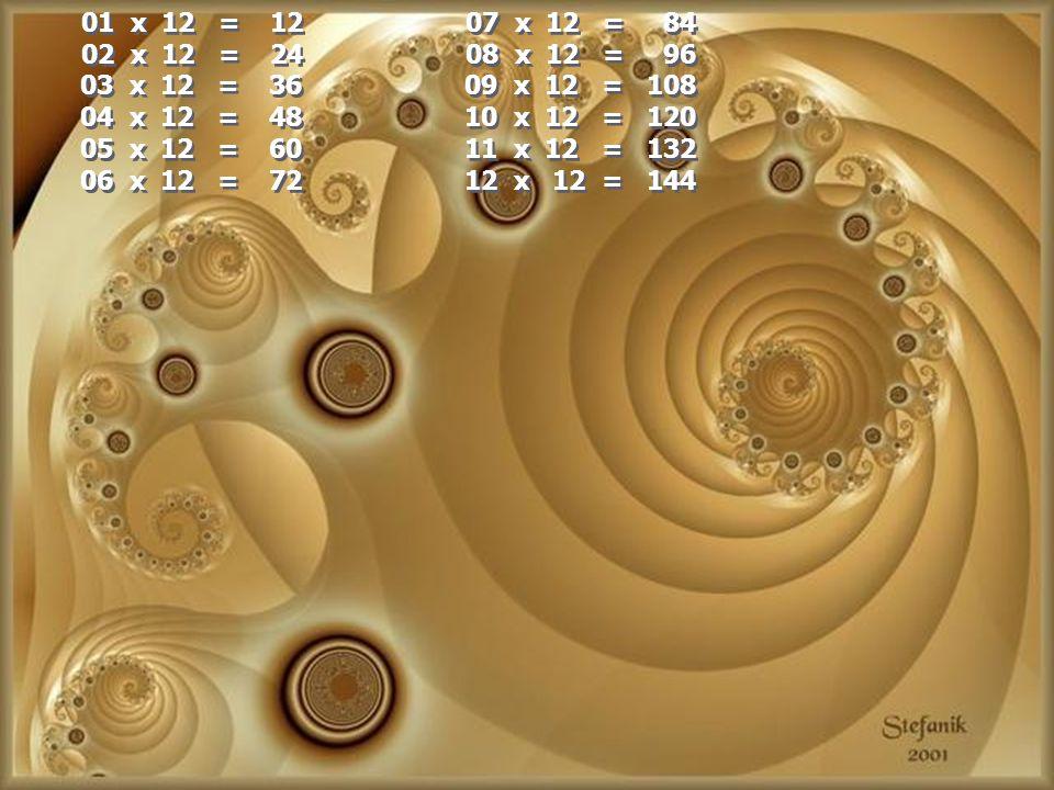 01 x 12 = 12 07 x 12 = 84 02 x 12 = 24 08 x 12 = 96.
