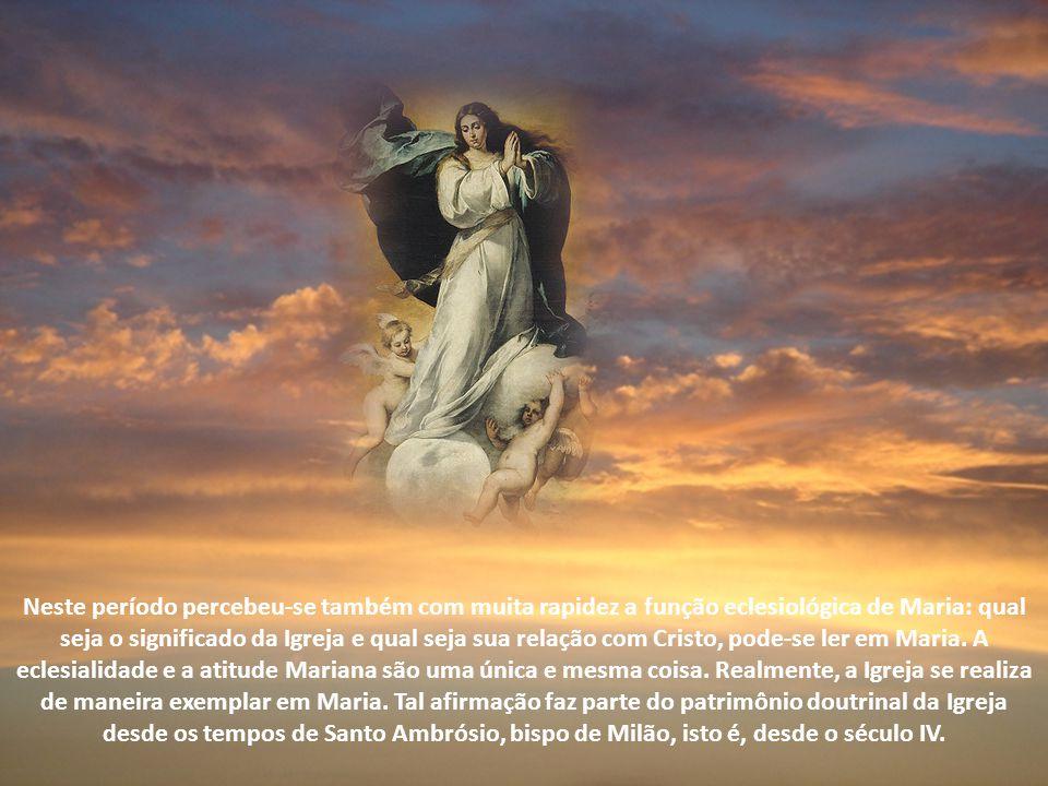 Neste período percebeu-se também com muita rapidez a função eclesiológica de Maria: qual seja o significado da Igreja e qual seja sua relação com Cristo, pode-se ler em Maria.