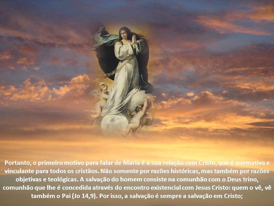 Portanto, o primeiro motivo para falar de Maria é a sua relação com Cristo, que é normativa e vinculante para todos os cristãos.