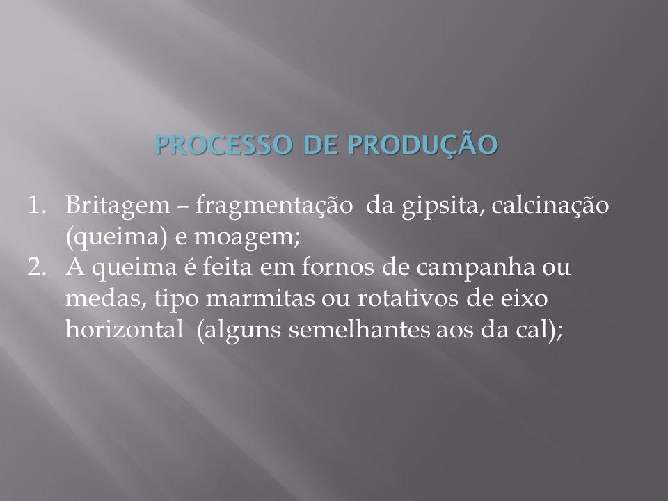 PROCESSO DE PRODUÇÃO Britagem – fragmentação da gipsita, calcinação (queima) e moagem;