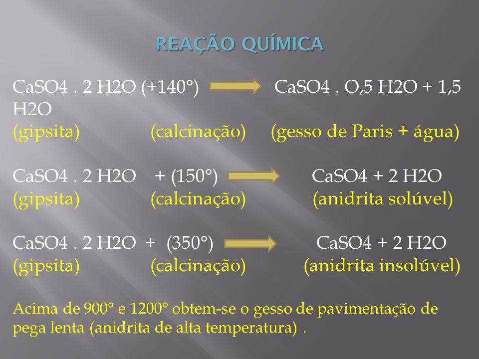 CaSO4 . 2 H2O (+140°) CaSO4 . O,5 H2O + 1,5 H2O