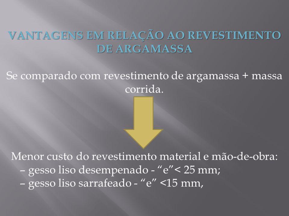 VANTAGENS EM RELAÇÃO AO REVESTIMENTO DE ARGAMASSA