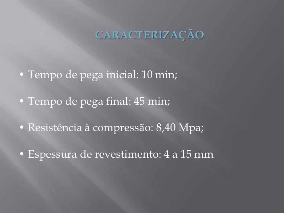 CARACTERIZAÇÃO • Tempo de pega inicial: 10 min; • Tempo de pega final: 45 min; • Resistência à compressão: 8,40 Mpa;