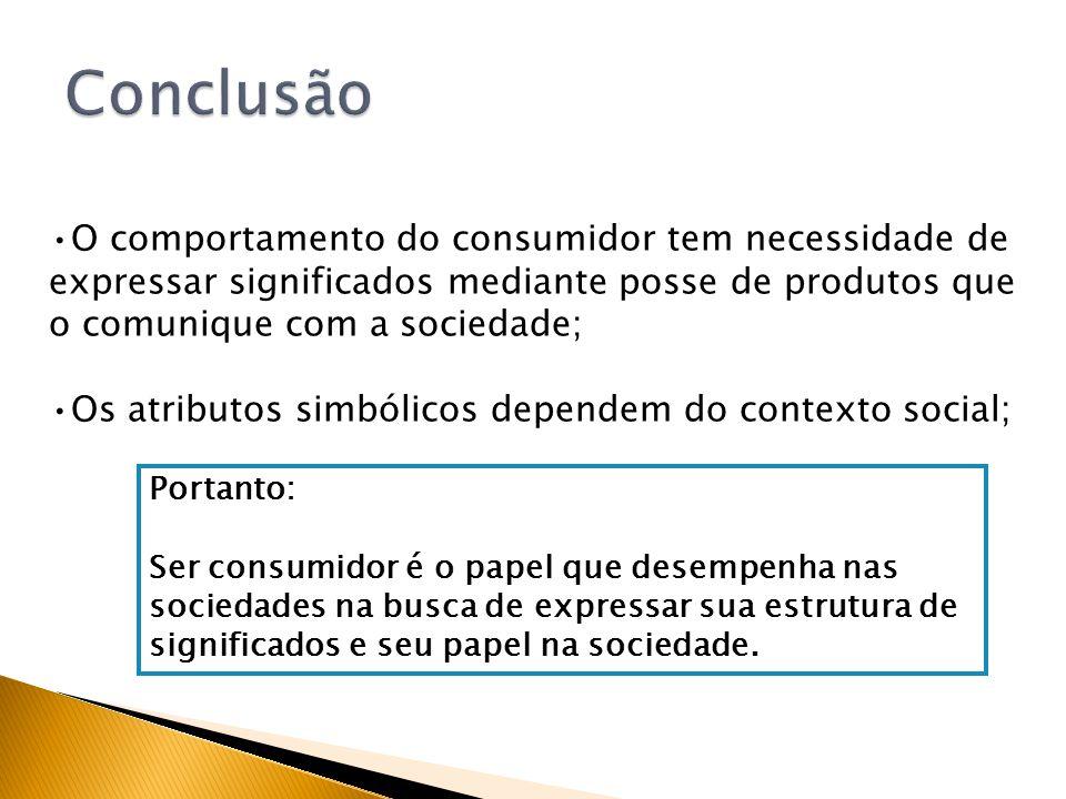 Conclusão O comportamento do consumidor tem necessidade de expressar significados mediante posse de produtos que o comunique com a sociedade;