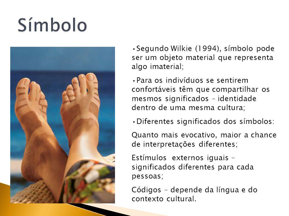 Símbolo Segundo Wilkie (1994), símbolo pode ser um objeto material que representa algo imaterial;