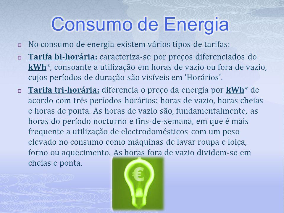 Consumo de Energia No consumo de energia existem vários tipos de tarifas: