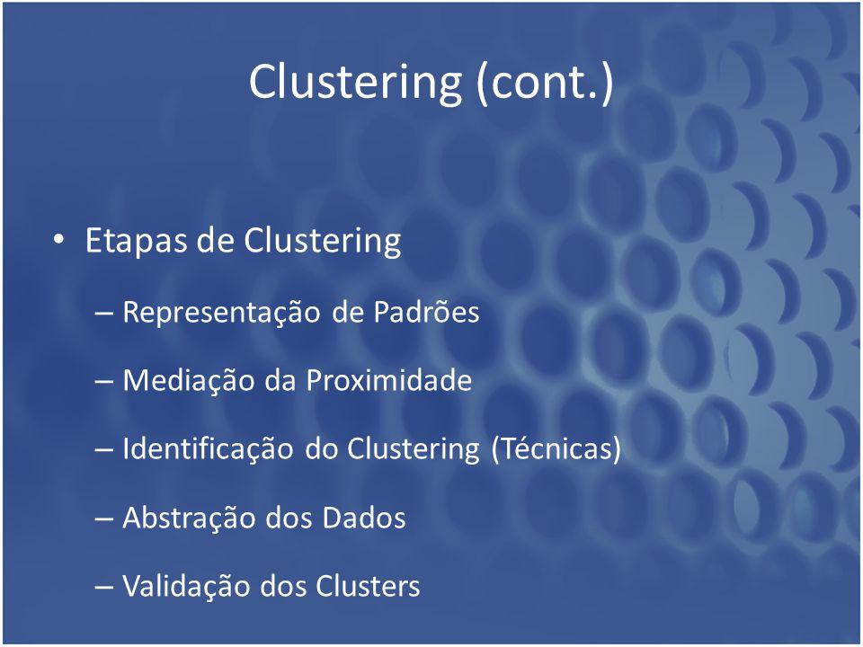 Clustering (cont.) Etapas de Clustering Representação de Padrões