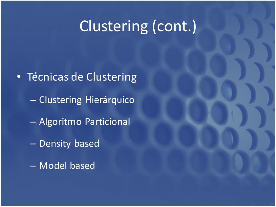 Clustering (cont.) Técnicas de Clustering Clustering Hierárquico