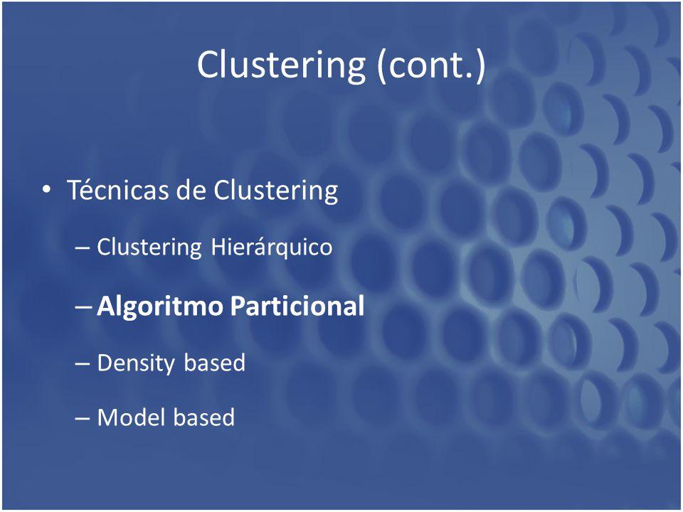 Clustering (cont.) Técnicas de Clustering Algoritmo Particional