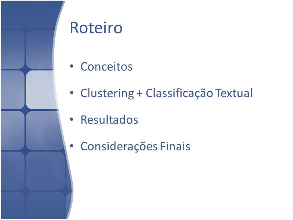 Roteiro Conceitos Clustering + Classificação Textual Resultados