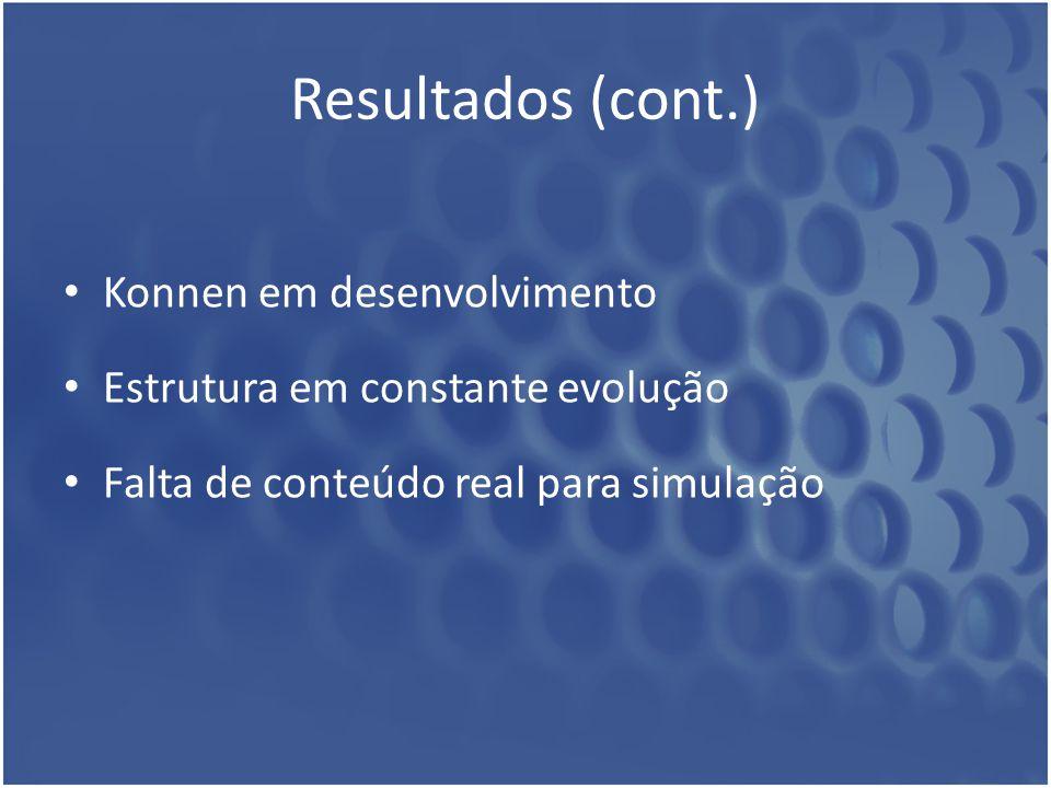 Resultados (cont.) Konnen em desenvolvimento