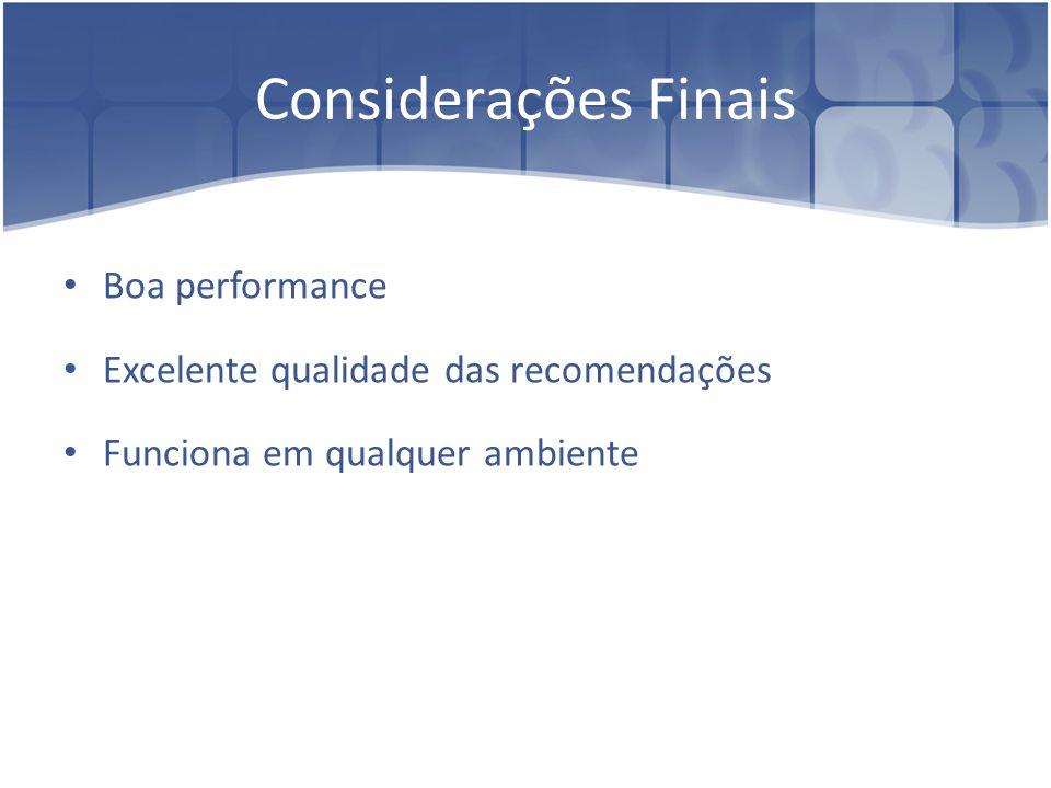 Considerações Finais Boa performance
