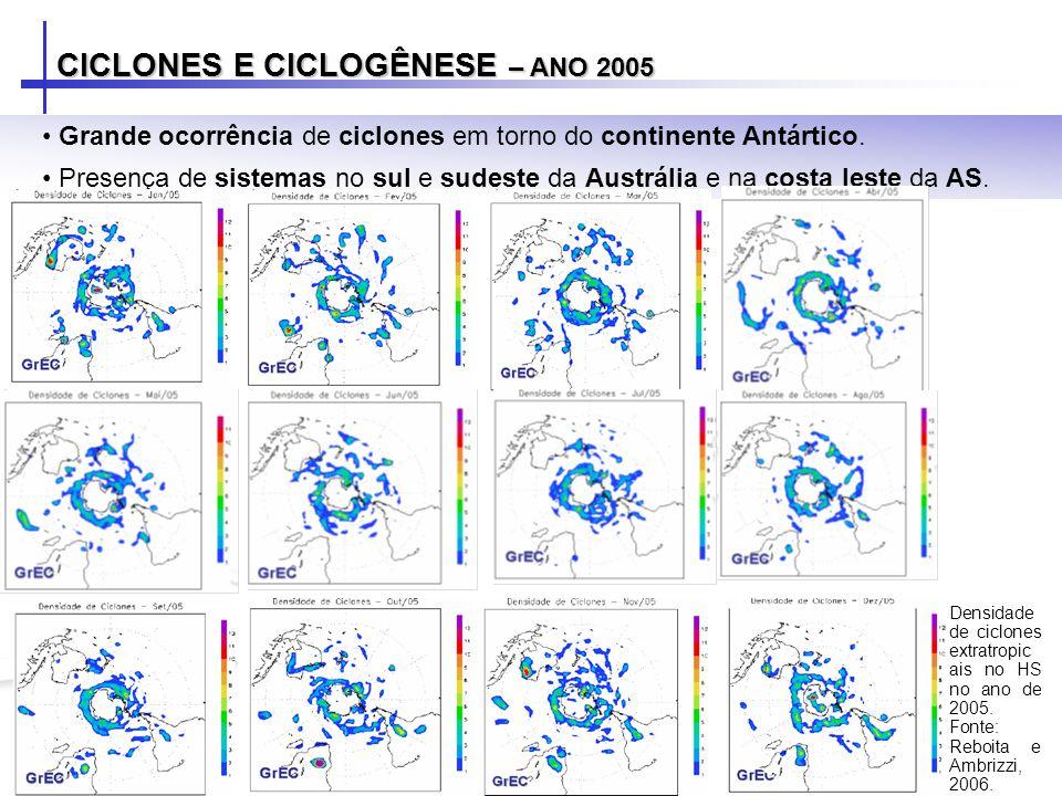 CICLONES E CICLOGÊNESE – ANO 2005