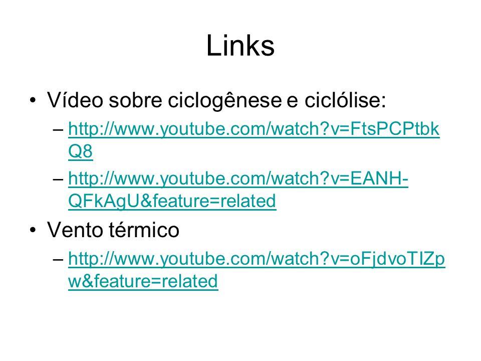 Links Vídeo sobre ciclogênese e ciclólise: Vento térmico