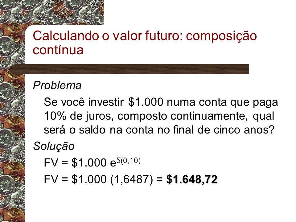 Calculando o valor futuro: composição contínua