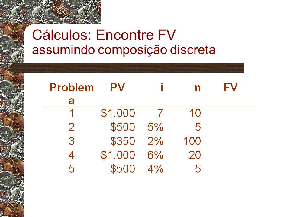Cálculos: Encontre FV assumindo composição discreta