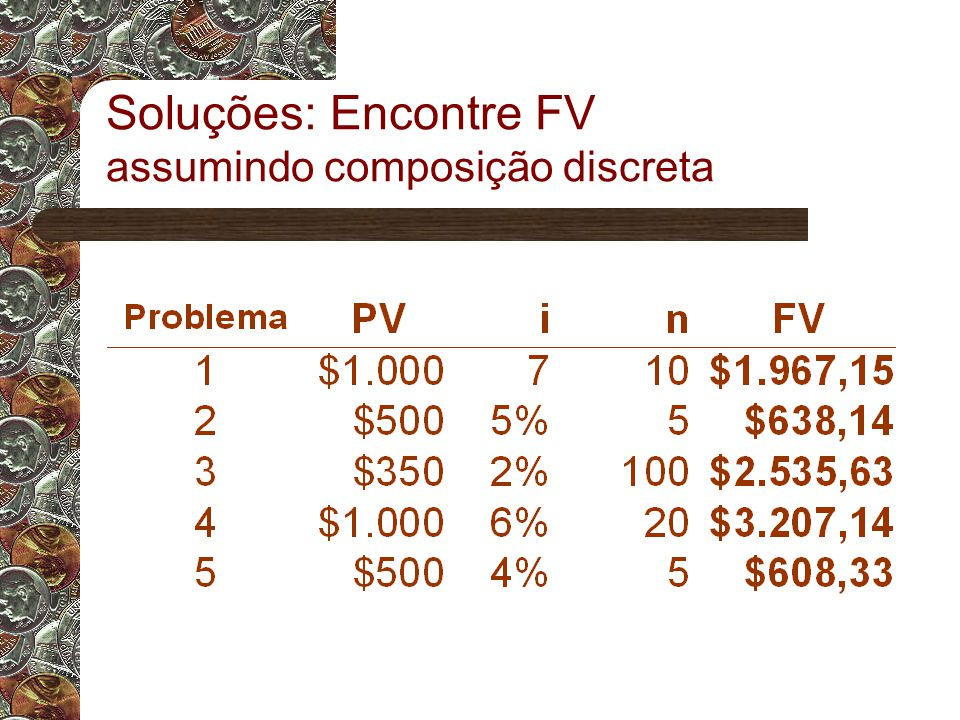 Soluções: Encontre FV assumindo composição discreta