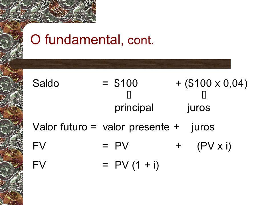 O fundamental, cont. Saldo = $100 + ($100 x 0,04) é é principal juros