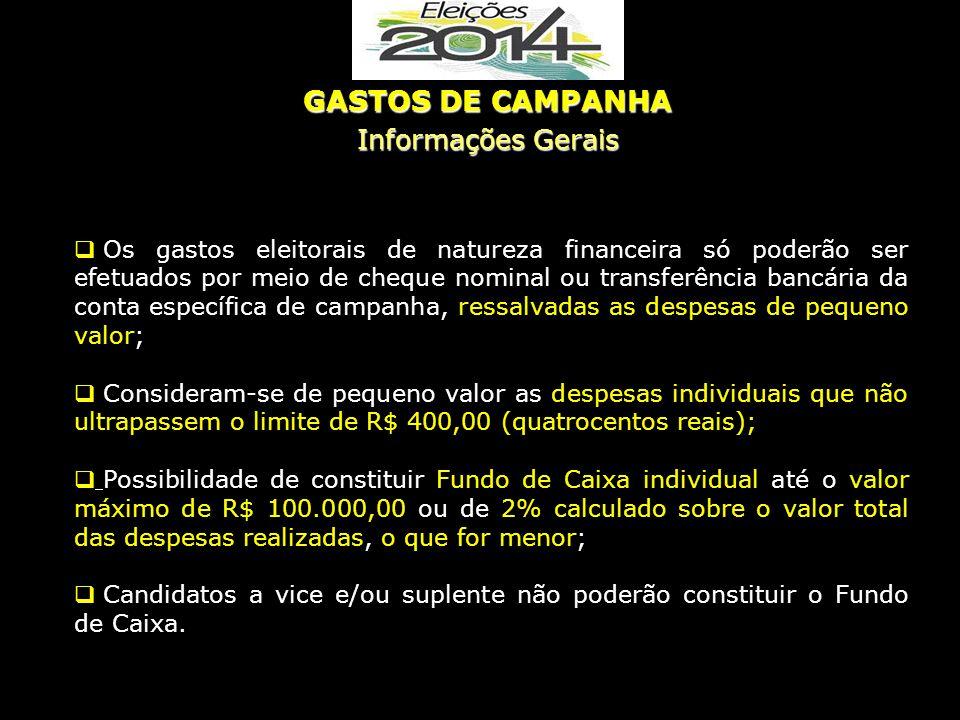 GASTOS DE CAMPANHA Informações Gerais