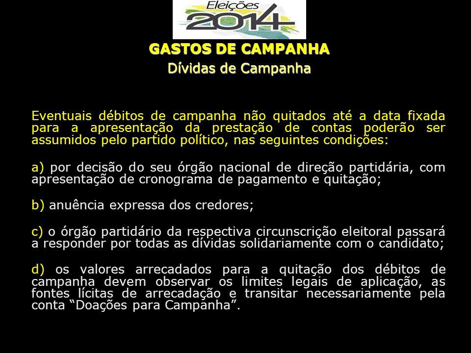 GASTOS DE CAMPANHA Dívidas de Campanha