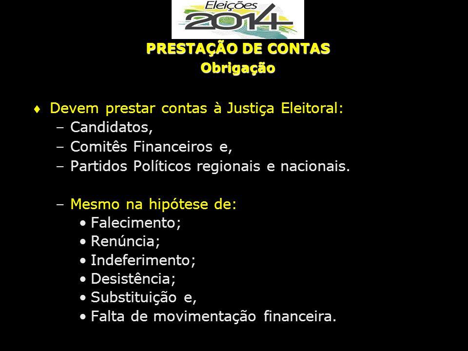 Devem prestar contas à Justiça Eleitoral: Candidatos,