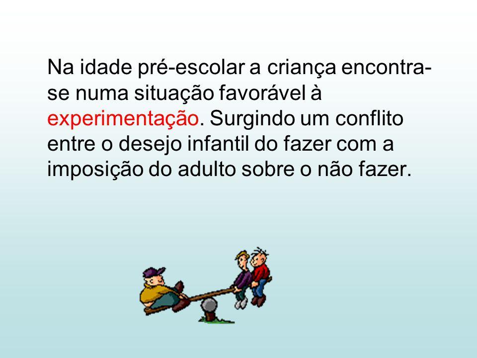 Na idade pré-escolar a criança encontra- se numa situação favorável à experimentação.