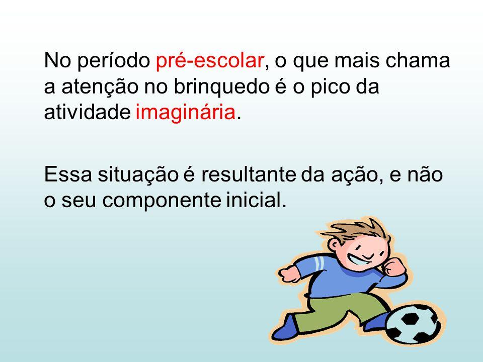 No período pré-escolar, o que mais chama a atenção no brinquedo é o pico da atividade imaginária.