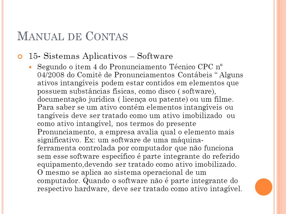 Manual de Contas 15- Sistemas Aplicativos – Software