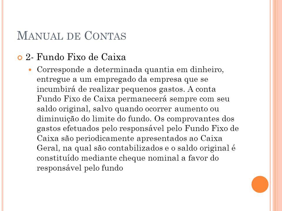 Manual de Contas 2- Fundo Fixo de Caixa