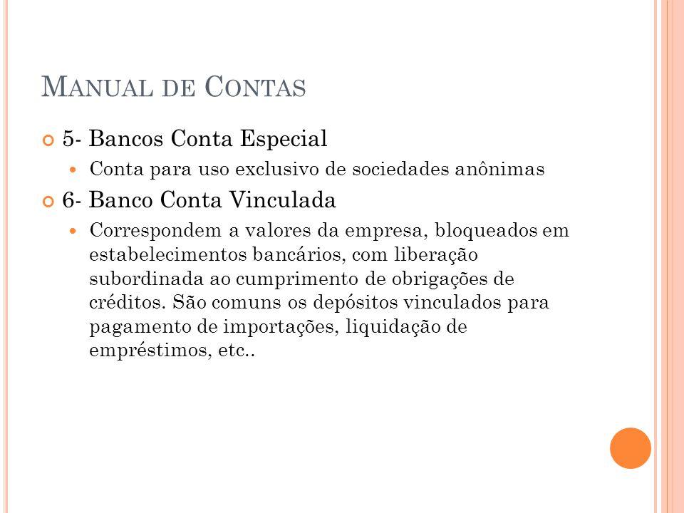 Manual de Contas 5- Bancos Conta Especial 6- Banco Conta Vinculada