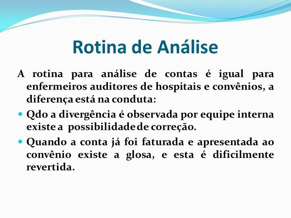 Rotina de Análise A rotina para análise de contas é igual para enfermeiros auditores de hospitais e convênios, a diferença está na conduta: