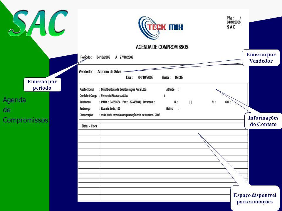 Agenda de Compromissos Vendedor Emissão por período Informações